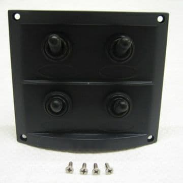 4 GANG 12v SPLASHPROOF BLACK MARINE SWITCH PANEL (10044) - ROCKER boat yacht